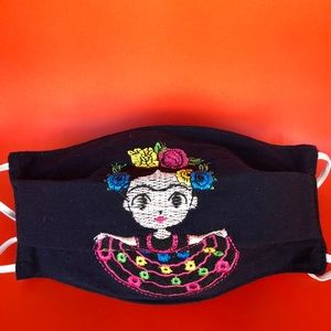 ARTISANAL EMBROIDERED FRIDA KAHLO FACE COVERING